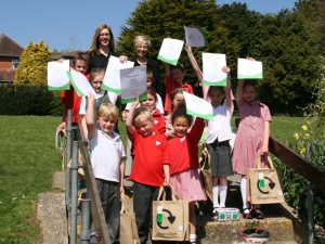 Gemma Coles with pupils from St Johns First School (large version)
