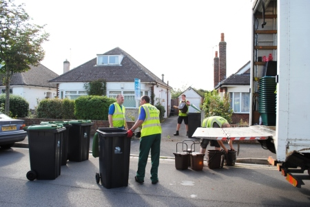 Sorting bins on street